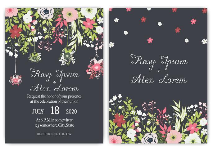 suite di carte invito a nozze con fiori margherita. vettore