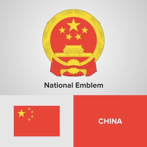 China emblema nacional, mapa y bandera