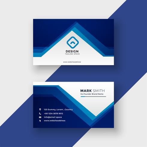 carte de visite de style géométrique bleu moderne