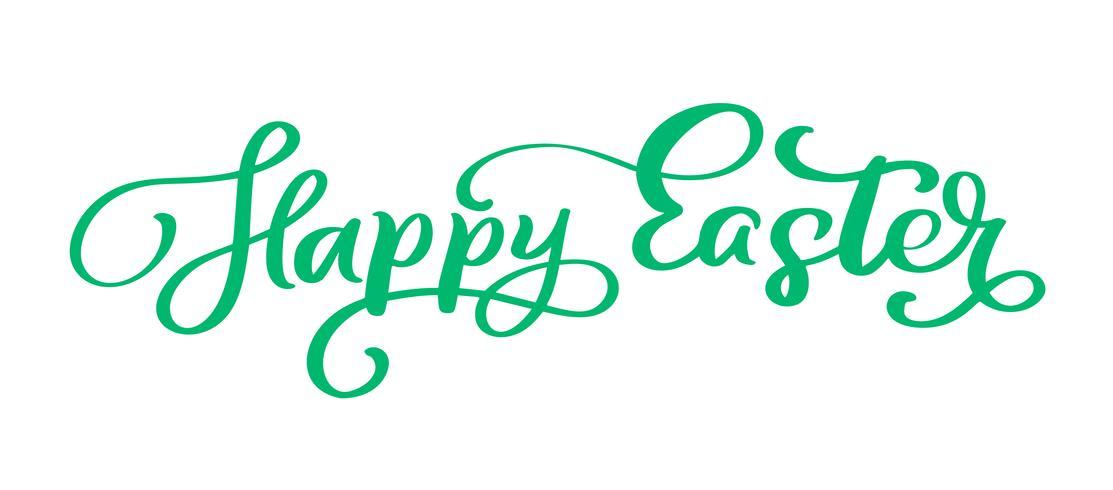 Texte de lettrage manuscrit vert Joyeuses Pâques