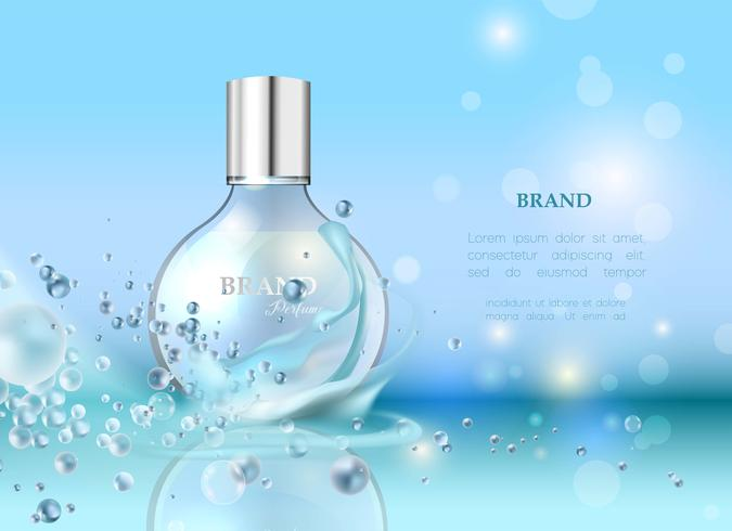 Vector illustration of a realistic style perfume in a glass bottle.