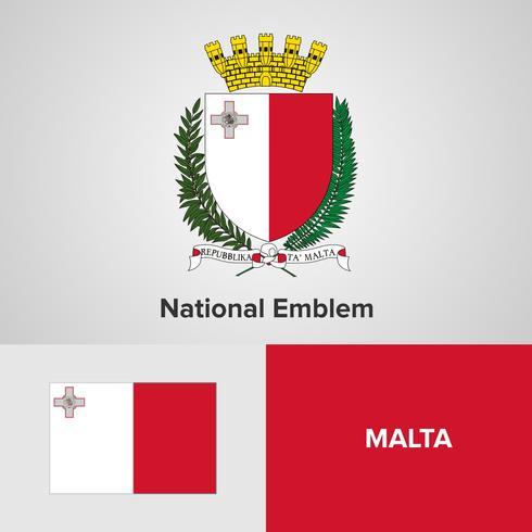 Emblema nazionale di Malta, mappa e bandiera