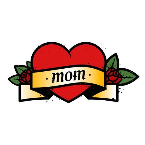 Tatouage de couleur old school avec coeur et roses et texte maman. Amour pour ma mère Illutration vectorielle