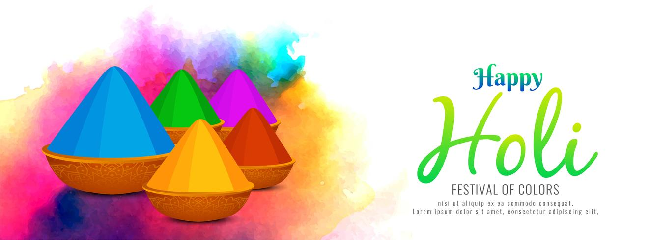 Modèle de bannière colorée abstrait Happy Holi