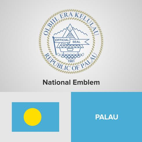 Palau emblema nacional, mapa y bandera vector