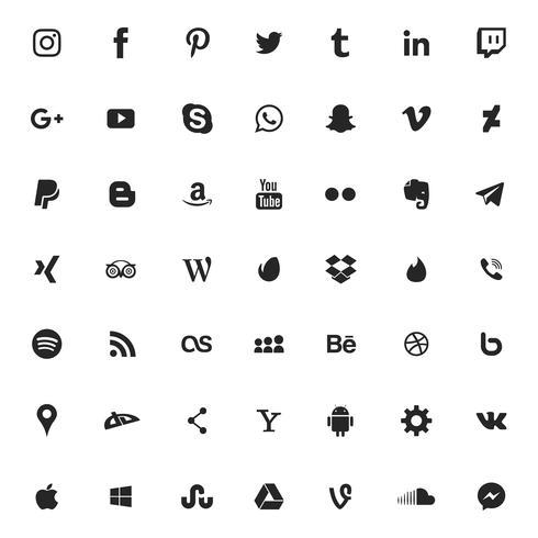 Set di icone di social media e applicazioni