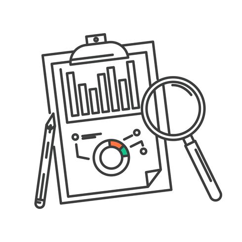 Concept de design de l'icône d'analyse données commerciales.