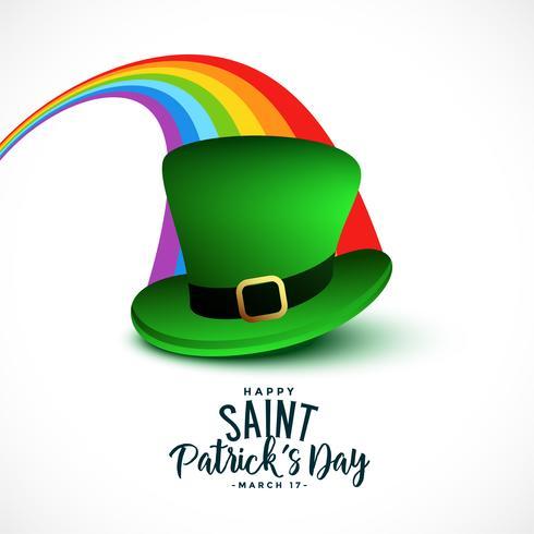 élégant fond de jour de la Saint-Patrick avec arc-en-ciel et cap