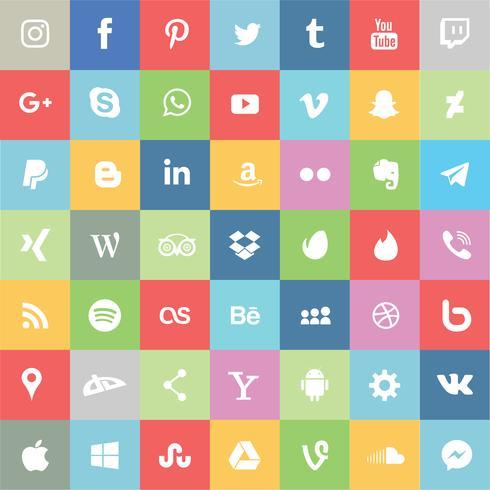Social Media- und apps-Ikonensatz