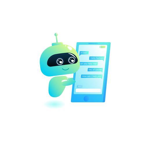 Chatbot escrever resposta para mensagens no chat. O consultor de Bot é livre para ajudar os usuários em seu telefone online. Vetorial, caricatura, ilustração