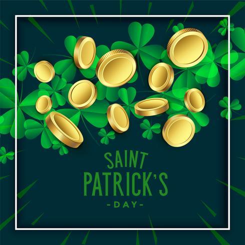 trevo deixa com moedas de ouro para o dia de St. Patrick