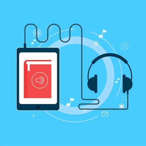 Banniere De Livre Audio En Ligne Illustration De Plat