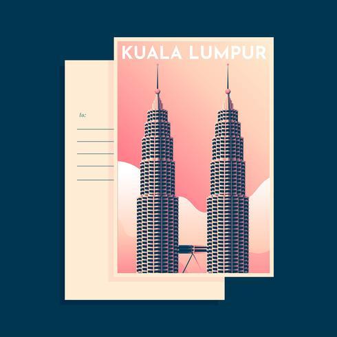 Petronas Tower Kuala Lumpur Weinlese Postacard Tempalte