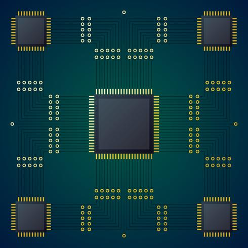 High Tech Circuit Board Vector Background