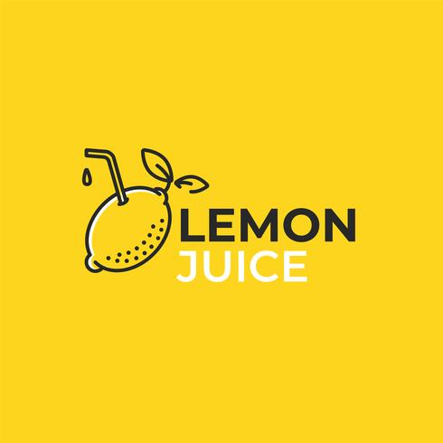 Lemon juice logo. Logotype with bright fresh lemonade. Summer drawing for a smoothies shop. Vector line art illustration