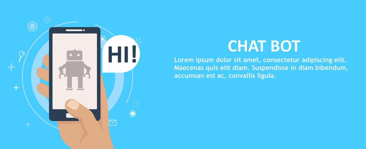 Chat bot no telefone na mão. Bandeira. Ilustração vetorial plana