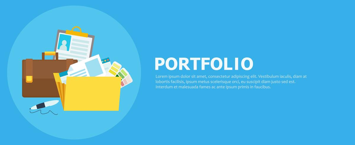 Portfolio banner. Mapp med filer, portfölj, penna. Vektor platt illustration