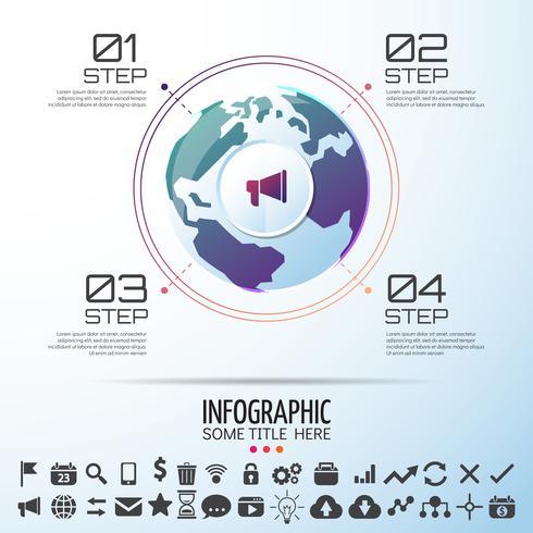 Modèle de conception infographie carte du monde vecteur