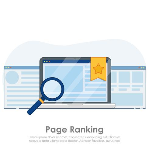 Page ranking on laptop banner. Browser window with star favorite sign. Vector flat illustration