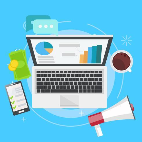 Digitale merketing banner. Werkplek met laptop, koffie, papier, geld, telefoon Vector flat illustratie