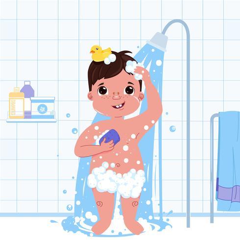 Personaje de niño pequeño niño tomar una ducha. Rutina diaria. Fondo de baño interior. Ilustración vectorial de dibujos animados