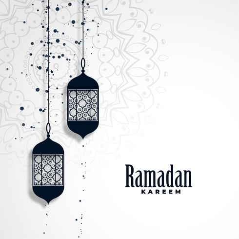 ramadan kareem season background with hanging lamps