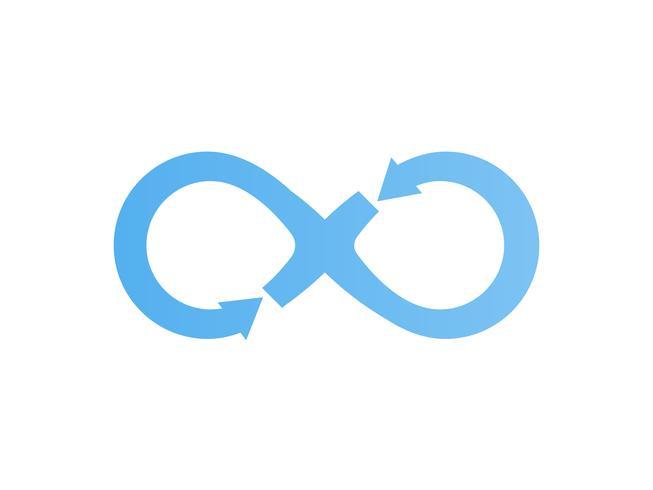 Infinity vectorillustratie. Blauwe pijl eeuwigheid symboolpictogram.