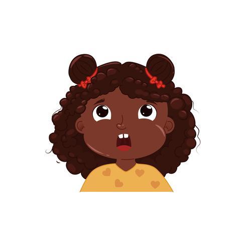 La piccola ragazza carina è scioccata. Bambino emozione sorpreso. Illustrazione di cartone animato vettoriale
