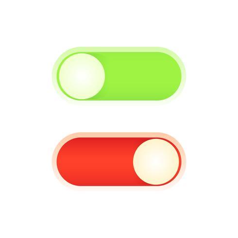 Progetta un pulsante di accensione per la tua applicazione. Illustrazione piatta vettoriale