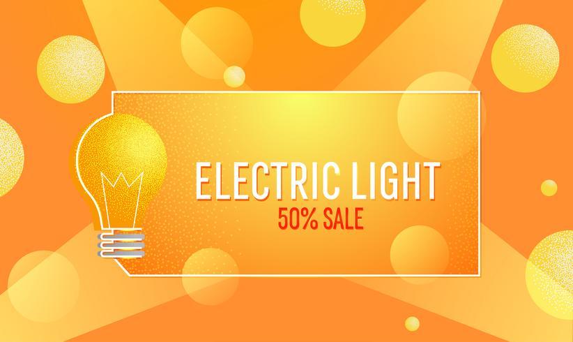 Banner de luz eléctrica de venta. Bombilla eléctrica de comercio electrónico. Vector ilustración de textura plana