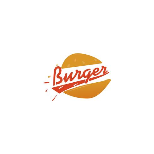 Burger delivery. Fast hamburger car. Logotype for restaurant or cafe . illustration vector