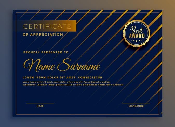 Kreatives Zertifikat für Anerkennung Schablonendesign