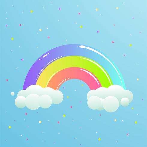 Ein schöner Regenbogen mit Wolken gegen den Himmel mit Sternen. Niedliche Cartoon-Illustration