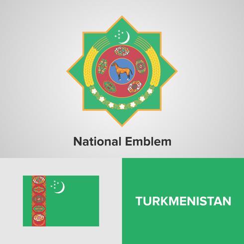 Turkmenistán emblema nacional, mapa y bandera vector