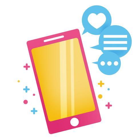 Parliamo di banner. Luminoso telefono carino con icone di messaggi e likes.Vector illustrazione piatta