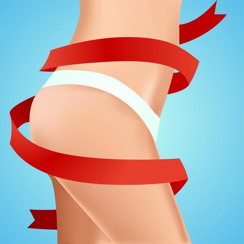 Perfecte vrouwelijke heupen. Werk aan het lichaam. Resultaat met rood lint. Vector realistische illustratie