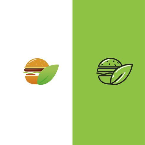 Vegan eco burger. Vegetarian lunch. Logotype for restaurant or cafe or fast food. Vector illustration