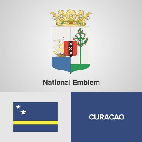 CuracaoNational Emblem, karta och flagga