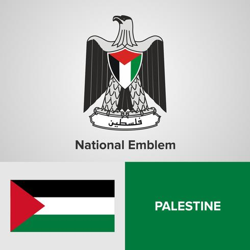Palestinian National Emblem, Map and flag