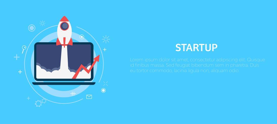 Startap Raket en afbeeldingen worden van de computer gehaald. Banner. Platte vectorillustratie
