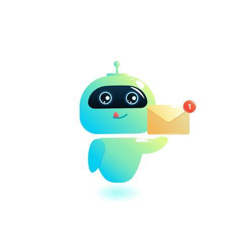 Chatbot escribe respuesta a mensajes en el chat. Bot Consultant es gratis para ayudar a los usuarios en su teléfono en línea. Ilustración vectorial de dibujos animados