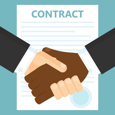 Conclusão de um contrato. Dois homens apertam as mãos. Ilustração vetorial plana