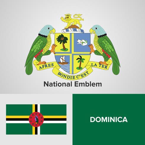 Dominica emblema nacional, mapa y bandera