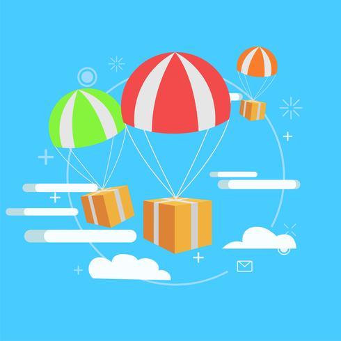 Servicio de entrega. Paquete por aire, regalo. Vector ilustración plana