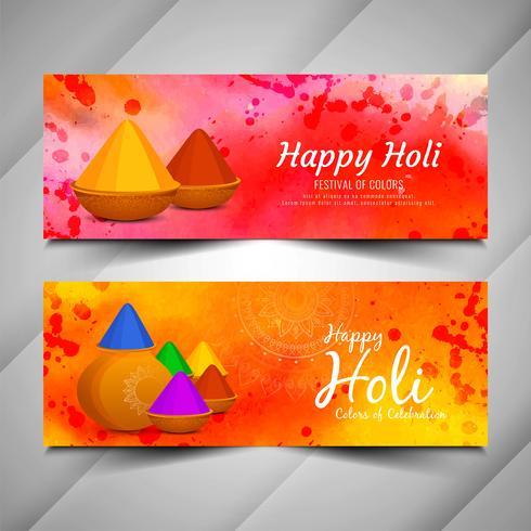 Insieme di belle bandiere di Holi festival alla moda