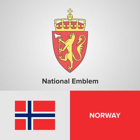 Nationaal embleem van Noorwegen, kaart en vlag
