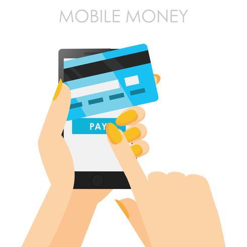 Téléphone en mains avec une carte de crédit. Paiement en ligne depuis un mobile. Bannière plate de vecteur