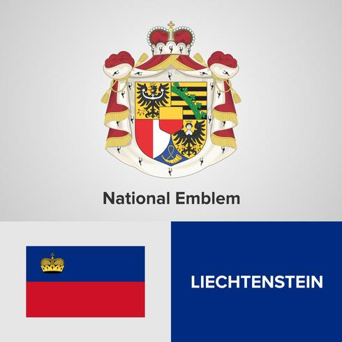 Liechtenstein National Emblem, Map and flag
