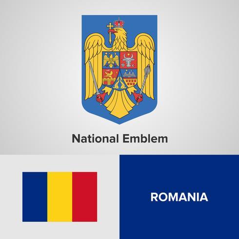 Het nationale embleem, de kaart en de vlag van Roemenië