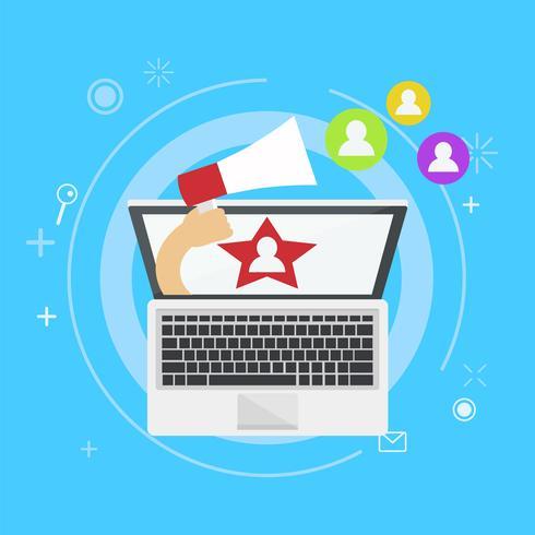 Influencer marknadsföring banner. Från datorn kommer en hand ut med en magnet som ringer till användare. Vektor platt illustration